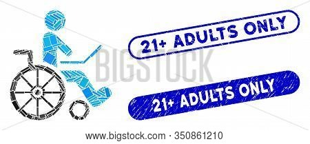 Mosaic Wheelchair And Grunge Stamp Seals With 21 Plus Adults Only Text. Mosaic Vector Wheelchair Is