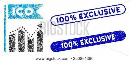 Mosaic Ico Chart And Rubber Stamp Seals With 100 Percent Exclusive Text. Mosaic Vector Ico Chart Is