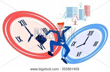 Vector Flat Abstract Illustration Running Man In Business Work Suit With Briefcase, Who Is In Hurry