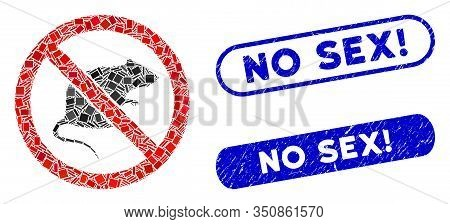 Mosaic No Rats Icon And Red Round Rubber Stamp Seal With No Sex Exclamation Text And Coronavirus Sym