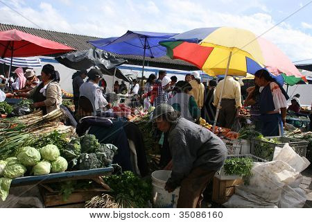 Editorial Use - Fruit and Vegetable Market in Cotacachi, Ecuador