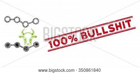 Pathogen Collage Cow Trends Icon And Red 100 Percent Bullshit Seal Between Double Parallel Lines. Mo