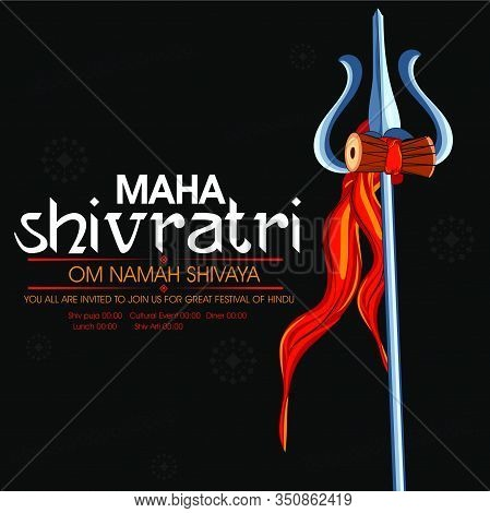 Happy Maha Shivratri. Trident With Damru Of Lord Shiv With Maha Shivratri Text With Message Of Om Na