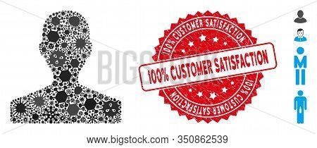 Contagious Mosaic Customer Icon And Rounded Rubber Stamp Seal With 100 Percent Customer Satisfaction