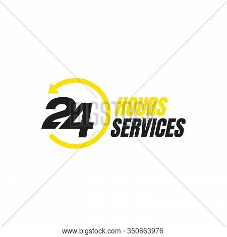 24 Hour Service Logo Vector Icon. Standby 24/7 Sign Day/night Services Button Symbol