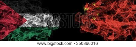 Flags Of Palestine And China On Black Background, Palestine Vs China Smoke Flags