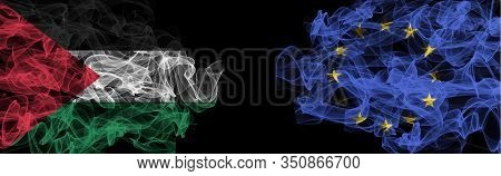Flags Of Palestine And Eu On Black Background, Palestine Vs Europe Union Smoke Flags
