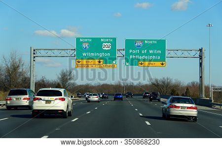 Wilmington, Delaware, U.s.a - February 9, 2020 - Highway Signs On Interstate 95, Route 202 And Inter