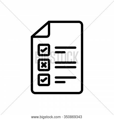 Black Line Icon For Test Approval Evaluation Experiment Inquiry Inspection Checkbox Paper