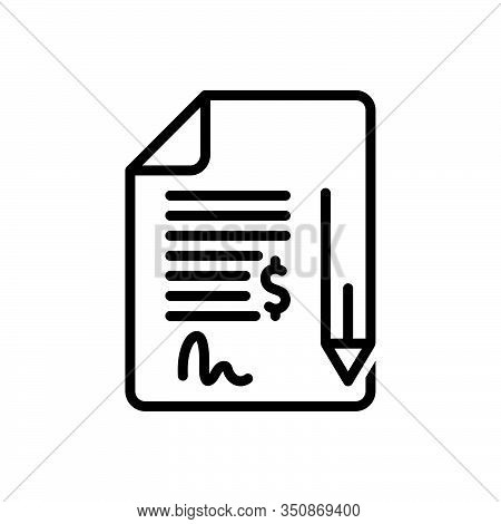 Black Line Icon For Contract Bond Commitment Pledge Pleadings Justice Security Deed Legal-documents