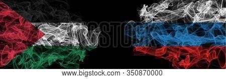 Flags Of Palestine And Russia On Black Background, Palestine Vs Russia Smoke Flags