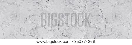 Light Gray Fresh Wet Plaster Wide Texture. Stucco Wall Surface. Large Grunge Background
