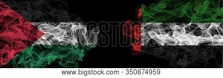 Flags Of Palestine And Uae On Black Background, Palestine Vs United Arab Emirates Smoke Flags