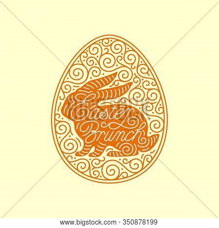 Easter Brunch Lettering With Bunny Silhouette And Linear Egg Ornate Frame. Vector Illustration.