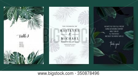 Tropical Frames Arranged From Exotic Emerald Leaves. Design Vector. Paradise Plants, Greenery And Pa