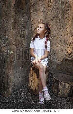 Pretty Lovely Small Girl With Pigtails Wearing White Shirt Sitting On The Stump Near The Stem Of The
