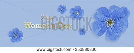 Horizontal Holiday Banner For Womens Day. International Womens Day. Blue Elegant Flyer. Greeting Car