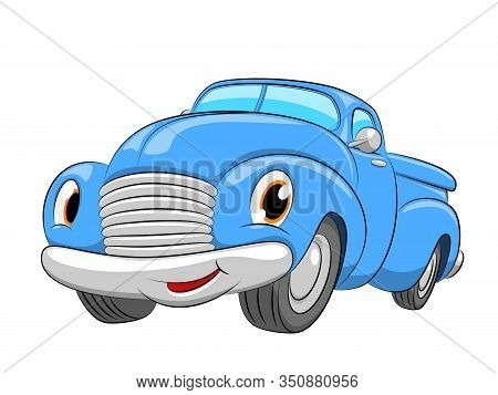 Cartoon Blue Car. A Pickup Car On A White Background.