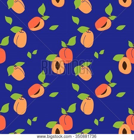 Vector Seamless Pattern With Apricot Pulp, Peaches. Dark Blue Background. Trendy Hand Drawn Textures