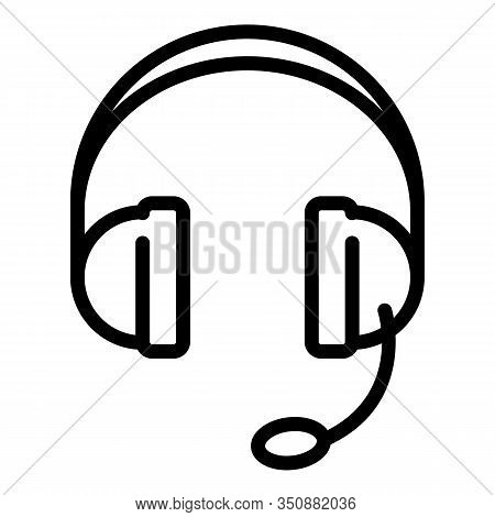 Headset Icon. Outline Headset Vector Icon For Web Design Isolated On White Background