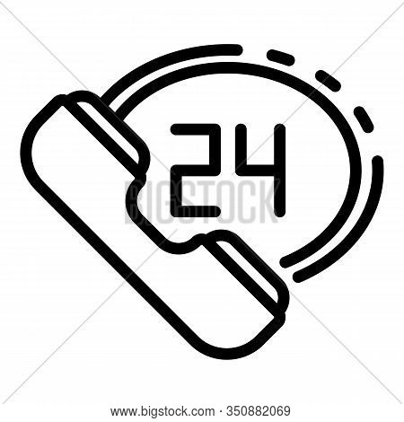 24 Hour Helpline Icon. Outline 24 Hour Helpline Vector Icon For Web Design Isolated On White Backgro