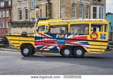 Windsor, Uk- Feb 10, 2020: The Tourist Atraction  Of An Amphibious Vehicle  In The Town Of Windsor R