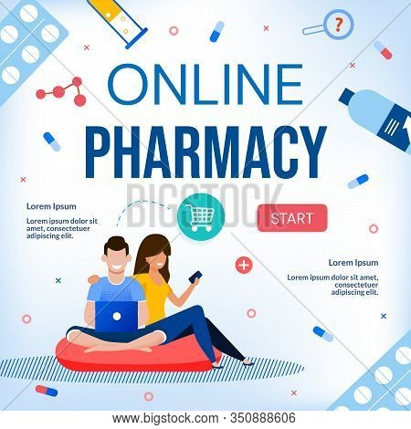 Online Pharmacy Drugstore Medical Care E-commerce Webpage. Happy People Family Couple Using Laptop A