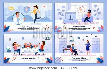Pregnancy And Career, Pregnant Woman Appetite, Hormone Surge, Healthy Life Trendy Flat Vector Banner