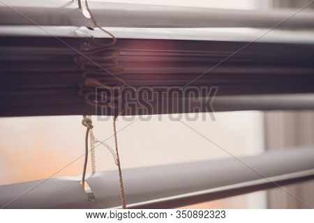 Half Open Horizontal Blinds With Gap For View.