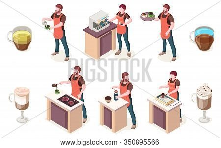 Barista And Coffee House, Isometric Elements Of Cafe Or Coffeeshop. Man Barista Preparing Coffee In