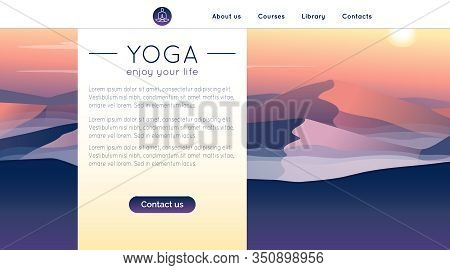 Vector Yoga Illustration With Mountains Landscape And Sample Text In Gradient Colors For Use As A Te