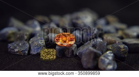 Beautiful Yellow Gemstones And Shiny, A Rare And Expensive Gemstone