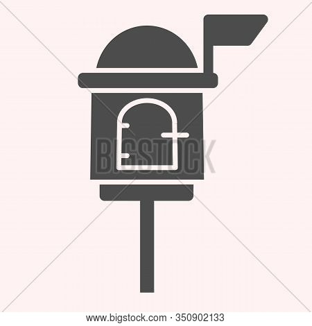 Letterbox Glyph Icon. Mail Box On Stand With Handle Lock. Postal Service Vector Design Concept, Soli