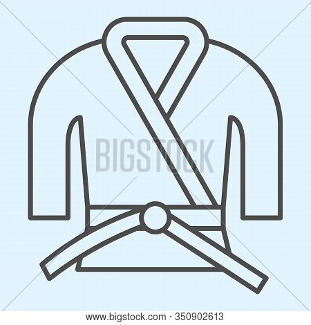Kimono Thin Line Icon. Asian Martial Art Costume, Judo And Karate Or Other Suit With Belt. Sport Vec