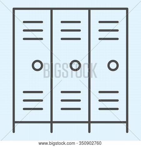 School Safe Lockers Thin Line Icon. Locker Or Cabinet For School Closet, Gym, Stadium. Sport Vector