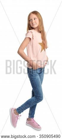 Full Length Portrait Of Preteen Girl On White Background