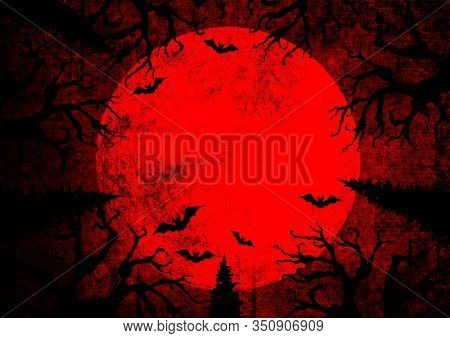 Halloween Holiday Bloody Red Grunge Horizontal Background With Full Moon, Silhouettes Of Bats And Te