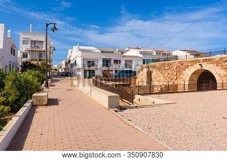 Menorca, Spain - October 12, 2019: Spanish Village Of Fornells On Minorca And Fortress The Sant Anto