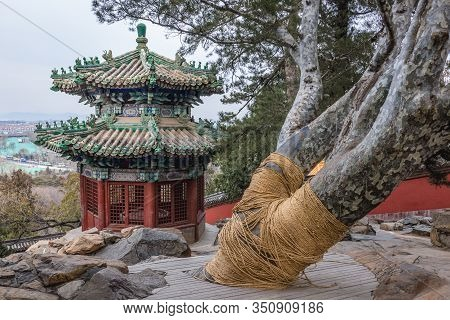 Traditional Chinese Arbor On Longevity Hill In Summer Palace In Beijing, Capital City Of China