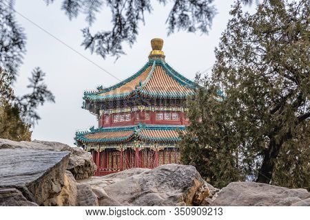 Roof Of Buddhist Incense Tower Seen From Longevity Hill In Summer Palace In Beijing, Capital City Of
