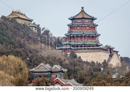 Longevity Hill With Buddhist Incense Tower And Hall Of Sea Of Wisdom In Summer Palace In Beijing, Ca