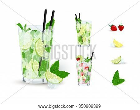 Vector Collection Of Mojito Cocktails With Ingredients Isolated On White Background. Classic And Str
