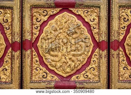 Close Up On A Door Of Hall Of Supreme Harmony In Forbidden City, Main Tourist Attraction In Beijing,