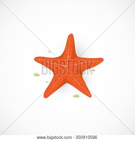 Vector Cartoon Icon Of Red Starfish, Isolated On White Background. Marine Sea Star Illustration In F