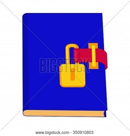 Cartoon Locked Blue Diary. Girl Secret Journal. Fairy Tale Theme Vector Illustration For Icon, Stamp