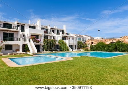 Minorca, Spain - October 12, 2019: Summer Villas With Swimming Pool In The Beautiful Town Of Fornell