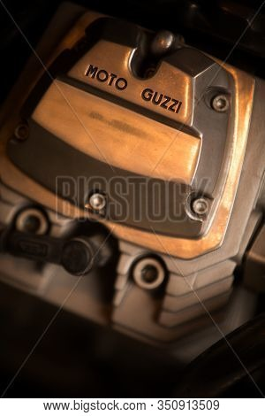 Mandello Del Lario, Italy - May 24, 1019: Illustrative Editorial Close Up Shot Of The Moto Guzzi Log