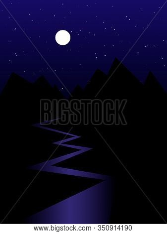 Dark Cartoon Nightscape Of Mountains And River, Full Moon And Stars