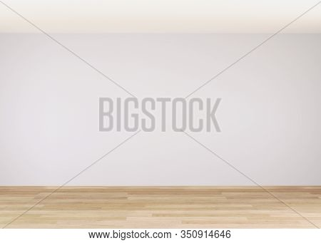 Empty Room For Mockup. Empty Room With Light Wall And Wooden Floor.3d Rendering.