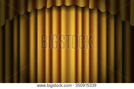 Gold Stage Curtain Realistic Vector. Closed Silky Luxury Gold Curtain Stage Background Spotlight. Go